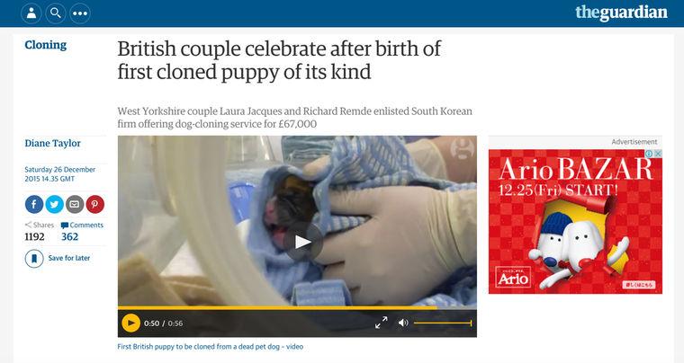 ペットロスの夫婦が注文した愛犬のクローンが誕生 世界中で賛否両論の声