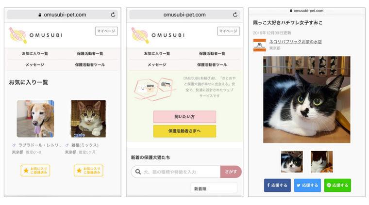 シロップ、保護犬猫と飼いたい人のマッチングサービス「OMUSUBI」(お結び)提供開始